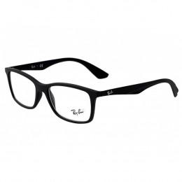 c08bc6edf0466 Óculos de Grau Ray-Ban Retangular Acetato Preta Aro Fechado Sem Plaquetas  0rx7047l 5196 56