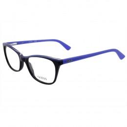 d24f79767 Óculos de Grau Guess Quadrado Acetato Preta Aro Fechado Sem Plaquetas  gu2602 54001