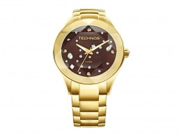 Relógio Technos Elegance Swarovski Dourado e Marrom 7d003fd7bd