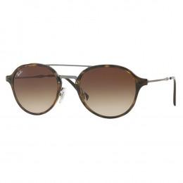 e46dbd0007966 Óculos de Sol Ray-Ban Redondo Armação Acetato Tartaruga Lente Marrom  Degradê Com Plaquetas 0rb4287
