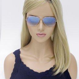 Óculos de Sol Ray-Ban Aviador Armação Metal Prata Lente Azul Degradê Com  Plaquetas 0rb3025l b5ff155b23