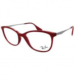 b4b3af9afb435 Óculos de Grau Ray-Ban Redondo Acetato Vermelha Aro Fechado Sem Plaquetas  0rx7106l 5998 53