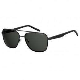 e5d264fc7a05f Óculos de Sol Polaroid Quadrado Armação Metal Preto Lente Preta Comum Com  Plaquetas pld 2044