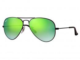 dce3b7d827107 Óculos de Sol Ray-Ban Aviador Armação Metal Preta Lente Verde Espelhada Com  Plaquetas 0rb3025l002
