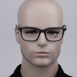 38de5f08ef806 Óculos de Grau Ray-Ban Quadrado Acetato Preta Aro Fechado Sem Plaquetas  0rx7144 5204 53