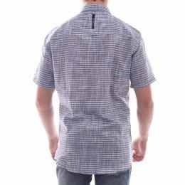 24e35f8b248 Camisa Calvin Klein Slim Fit com Bolso Listrada Azul e Branca