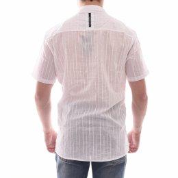 77ee9beaf83 Camisa Calvin Klein Slim Fit com Bolso Listrada Branca