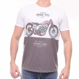 9974ae46e89 Camiseta Ogochi Slim Fit Bicolor Listrada Estampa Moto Branco e Marrom
