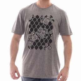 Camiseta MCD Estampa Grade com Rosas Cinza Mescla a90958dce78