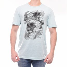 Camiseta MCD Estampa Caveira Turquesa Mescla 319fb204071
