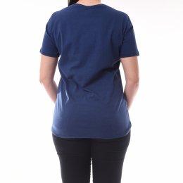 Blusa T-Shirt Dimy Manga Detalhe Botões Azul Marinho 0190e1130fc68