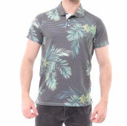0b901649cdc Camisa Polo Ogochi Slim Fit Listrada com Folhas Grafite e Verde