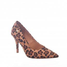 7ef41b048 Sapato Scarpin Vizzano Bico Fino Estampado Onça Caramelo e Preto