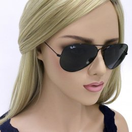 b77c60d247a0e Óculos de Sol Ray-Ban Aviador Armação Metal Preto Lente Verde Comum Com  Plaquetas 0rb3026l