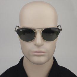 efe44435bf14e Óculos de Sol Ray-Ban Redondo Armação Metal Preta Lente Verde Comum Com  Plaquetas 0rb3596