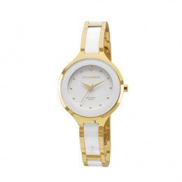 Relógio Technos Elegance Caixa Redonda Analógico Metal Dourada Pulseira  Metal Branca e Dourada 2035lyw 4b ec6822e28f
