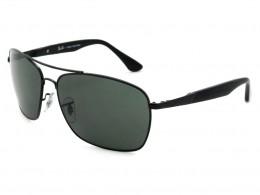 c50ab07c168c5 Óculos de Sol Ray-Ban Retangular Armação Metal Preta Lente Preta Comum Com  Plaquetas 0rb3531l006
