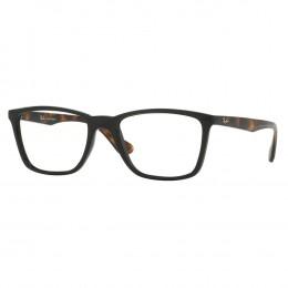 a76119672b526 Óculos de Grau Ray-Ban Quadrado Acetato Preta Aro Fechado Sem Plaquetas  0rx7107l556654 Unissex