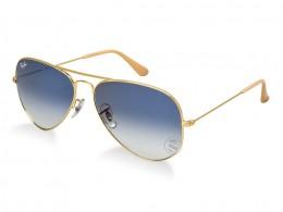 216ba2da74d02 Óculos de Sol Ray-Ban Aviador Armação Metal Dourada Lente Azul Degradê Com  Plaquetas 0rb3025l001