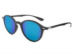 81998ef40770d Óculos de Sol Ray-Ban Redondo Armação Acetato Preta Lente Azul Espelhada  Sem Plaquetas 0rb423762061750