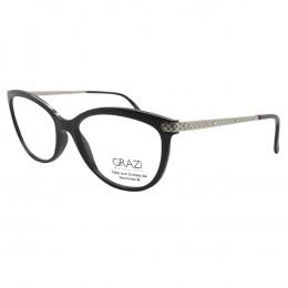 53b9ec49c Óculos de Grau Grazi Massafera Gatinho Acetato Preta Aro Fechado Sem  Plaquetas 0gz3027b e40154