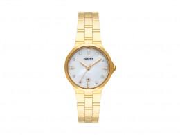 017ac9dd00e Relógio Orient Dourado Perolizado Crystais Swarovski Feminino