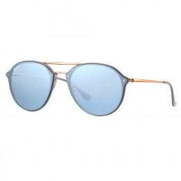 a1c6dbb91c520 Óculos de Sol Ray-Ban Redondo Armação Metal Rosê Lente Azul Espelhada Com  Plaquetas 0rb4292n