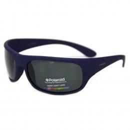 195ce29ce7cf2 Óculos de Sol Polaroid Retangular Armação Acetato Azul Lente Preta Comum  Sem Plaquetas 07886 sza 66y2