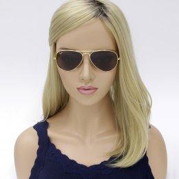 94df94611d421 Óculos de Sol Ray-Ban Aviador Armação Metal Dourado Lente Marrom Degradê  Com Plaquetas 0rb3025L001