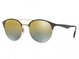 e08408c08 Óculos de Sol Ray-Ban Redondo Armação Metal Cinza Lente Dourada Espelhada  Com Plaquetas 0rb3545