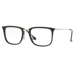 3f4108e65586b Óculos de Grau Ray-Ban Quadrado Acetato Preta Aro Fechado Com Plaquetas  0rx7141 5753 52