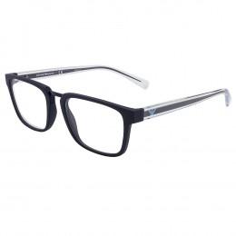 64a8285fc373e Óculos de Grau Emporio Armani Quadrado Acetato Azul Aro Fechado Sem  Plaquetas 0ea3108 5570 53