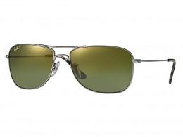 Óculos de Sol Ray-Ban Retangular Armação Metal Cinza Lente Dourada  Polarizada Com Plaquetas 0rb3543 82ecf6e93e