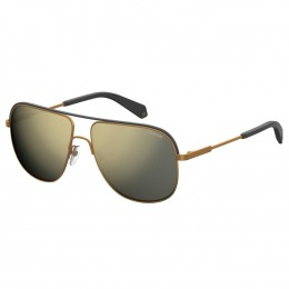 c2a6a8bbb7289 Óculos de Sol Polaroid Aviador Armação Metal Dourada Lente Dourada Espelhada  Com Plaquetas pld2055 s