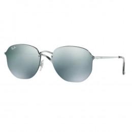Óculos de Sol Ray-Ban Redondo Armação Metal Prata Lente Verde Espelhada Com  Plaquetas 0rb3579n 4086a74b27