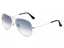 604b1d52b13e5 Óculos de Sol Ray-Ban Aviador Armação Metal Prata Lente Azul Degradê Com  Plaquetas 0rb3025l