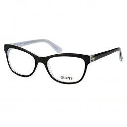 c604ed210c39d Óculos de Grau Guess Retangular Acetato Preta Aro Fechado Sem Plaquetas  gu2527 53003